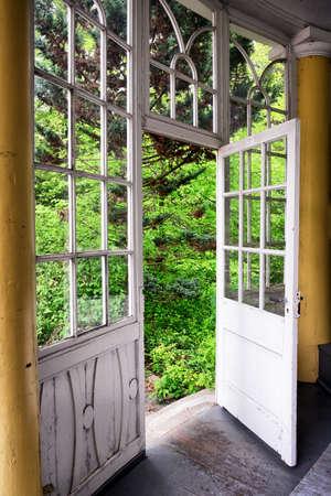 winter garden: old wooden winter garden - nice background