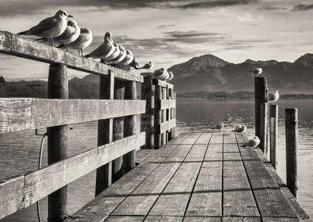 staré dřevěné molo u jezera Chiemsee v Bavorsku Reklamní fotografie
