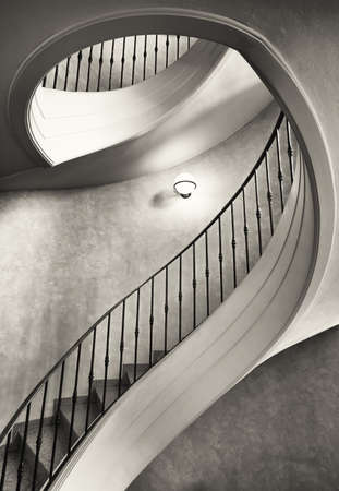 brown white: beautiful spiral staircase - looking up Editorial