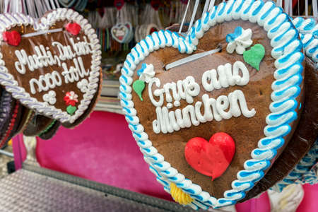 typical souvenir at the oktoberfest in munich - a gingerbread heart - lebkuchenherz photo