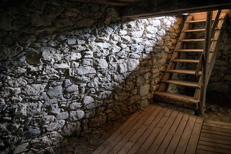 old cellar ladder and sunbeam
