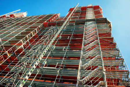 modern scaffolding at a construction site 版權商用圖片