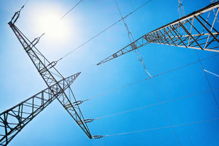 unusual angle: modern electricity pylons - unusual angle