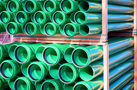 construction material: group of new plastic tubes