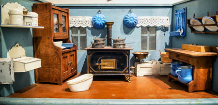 old furniture: beautiful historic dollhouse - close-up Editorial