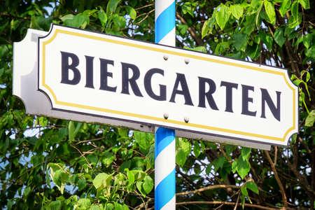 biergarten: typical beergarden sign in bavaria - germany Stock Photo