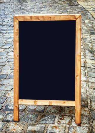 old wooden black board with space for text Stock Photo