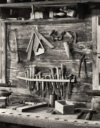 old workbench at a repair shop photo