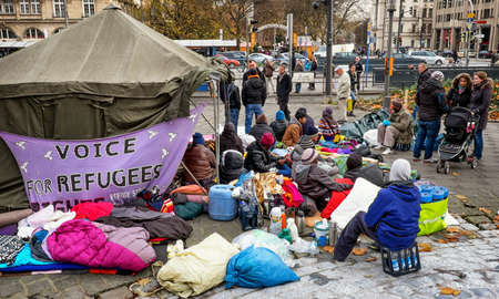 MUNICH, GERMANY - NOVEMBER 24 - Refugees on hunger strike at the sendlingertor on November 24, 2014 in Munich.