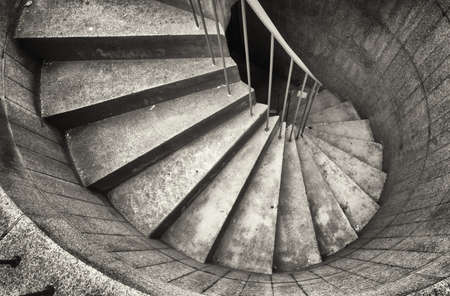 color photography: beautiful spiral staircase at an emergency exit Stock Photo