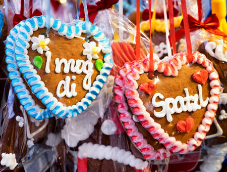 typical souvenir at the oktoberfest in munich - gingerbread hearts photo