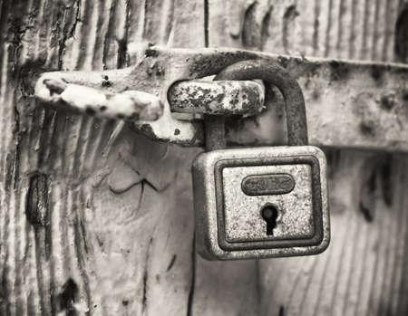 old fashioned sepia: beautiful old padlock close-up
