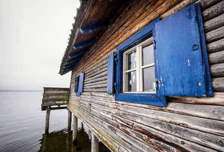 boathouse: old boathouse at a lake