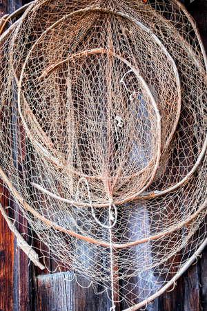 fishing net: close-up of an old fishing net Stock Photo