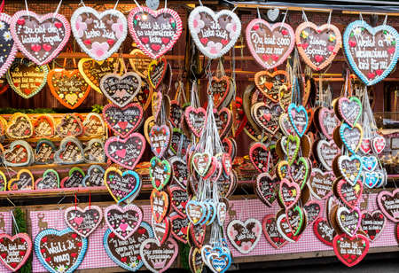 typical souvenir at the oktoberfest in munich - a gingerbread heart photo