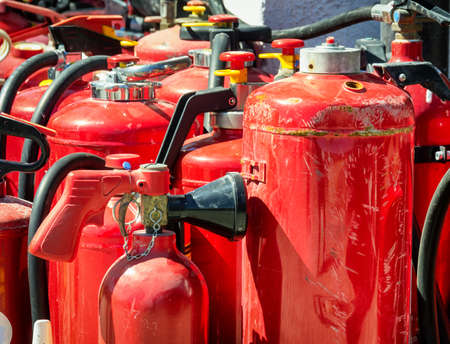 fire extinguishers: group of fire extinguishers