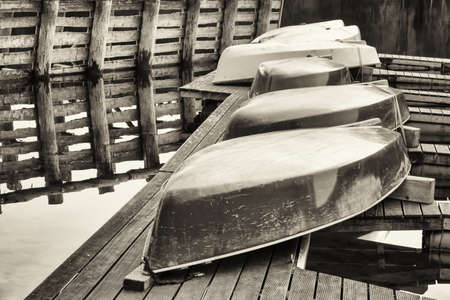 rowboats: rowboats at a lake in bavaria Stock Photo