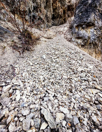 land slide: gravel of a landslide - closeup