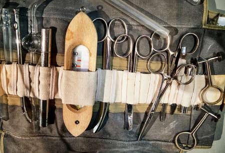 antique scissors: old medicine equipment in a bag Stock Photo