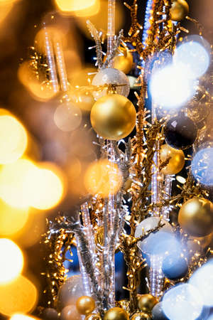 decorating christmas tree: christmas bauble - christmas decoration - closeup Stock Photo
