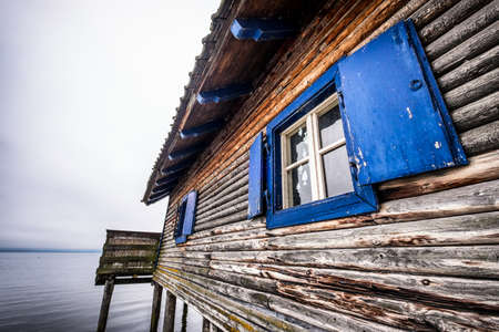 boathouse: old boathouse at a lake