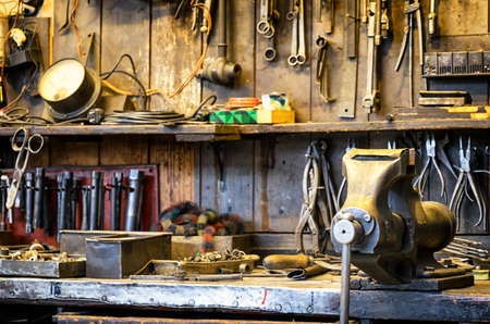 old workbench at an antique workshop