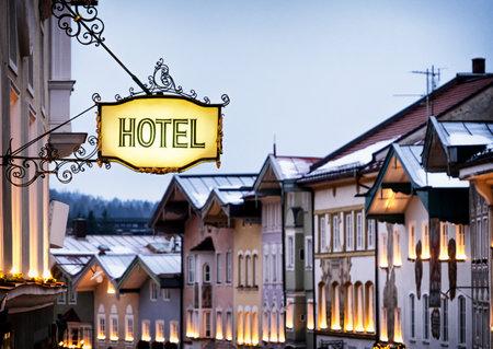 ドイツのアンティーク ホテル サイン 報道画像