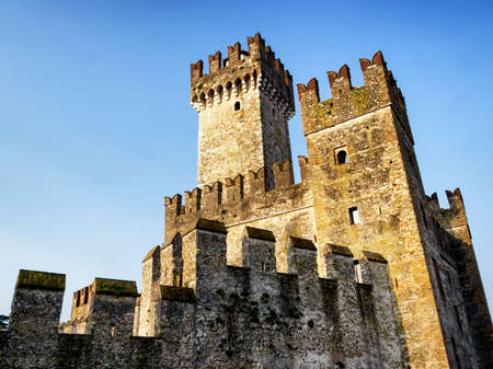 sirmione: old castle at sirmione in italy - castello scaligero Editorial