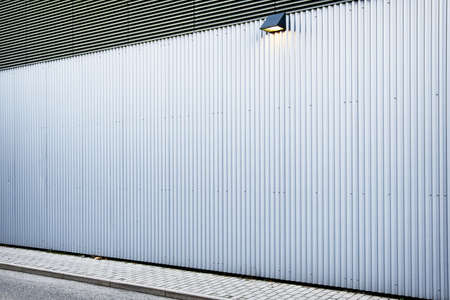 profiled: corrugated wall at a new building - nice background with copy space
