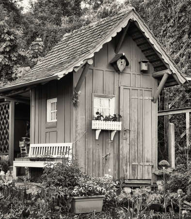 old hut at a garden