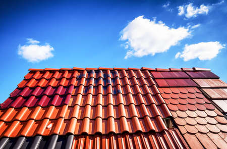 roof shingles: different roof tiles - close up