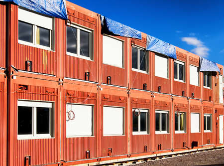 modular home: new red mobile home container