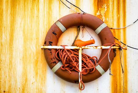 life belt: lifebelt at a fishing trawler - life belt