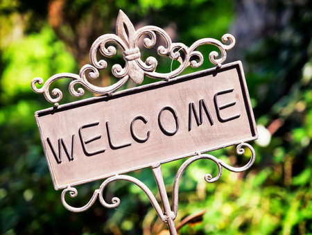 welcome sign: old fashioned welcome sign - photo