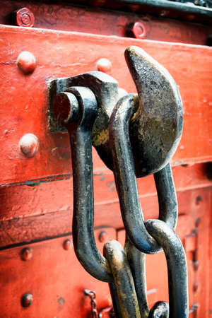 hook up: big chain and hook - close up Stock Photo