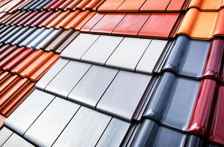 architecture design: different roof tiles - close up