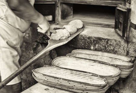 bakery: making bread - vintage - old bakery