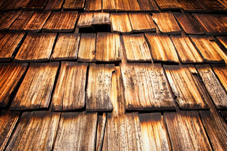 shingles: old wooden shingles at a hut - nice background Stock Photo