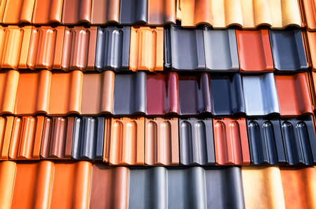 roofing: different roof tiles - close up