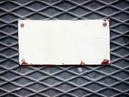 numberplate: old blank metal sign with space for text