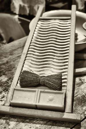 washboard: old washboard on a table