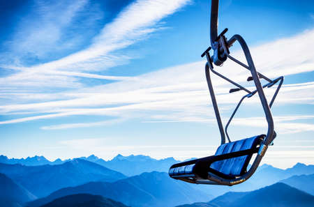 ski lift: mountains with modern ski lift chairs
