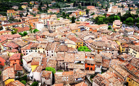 rooftile: old town of malcesine at the garda lake