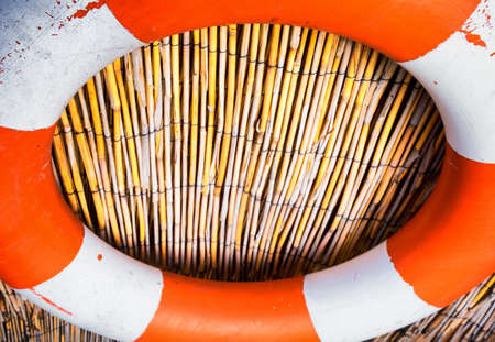 fishing hut: lifebelt at a fishing hut Stock Photo