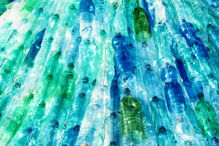 green bottle: large group of empty plastic bottles Stock Photo