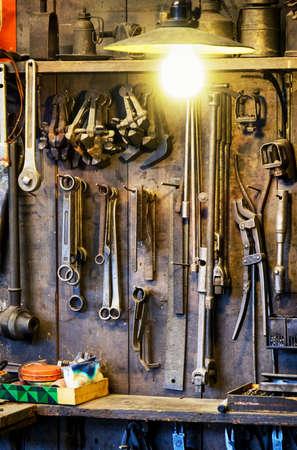 workbench: old workbench at an antique workshop