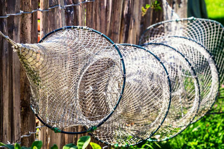 trawler net: old fishing net - close up