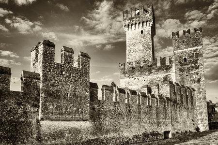 castello: old castle at sirmione in italy - castello scaligero Editorial