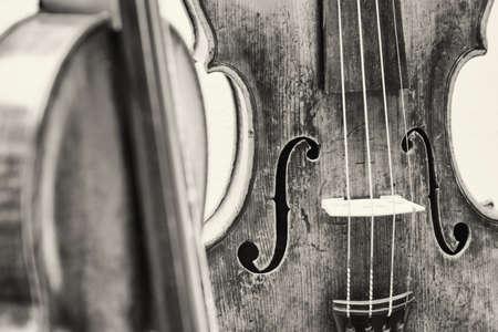 violin making: old music instrument - violin - closeup - photo
