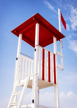 unusual angle: lookout tower at a beach